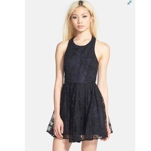 ASTR Lace Overlay Fit and Flare T-Back Dress
